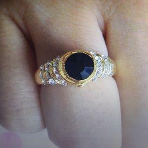 14K Gold filled black gemstone sapphires Size 7